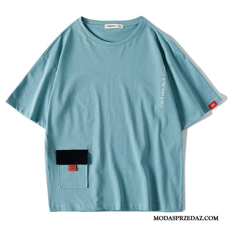 Koszulki Męskie Tanie Nowy Kieszenie T-shirt Lato Krótki Rękaw Niebieski