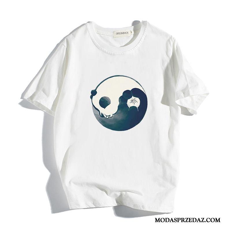 Koszulki Męskie Tanie Znieść T-shirt Bawełna Mały Okrągły Dekolt Biały
