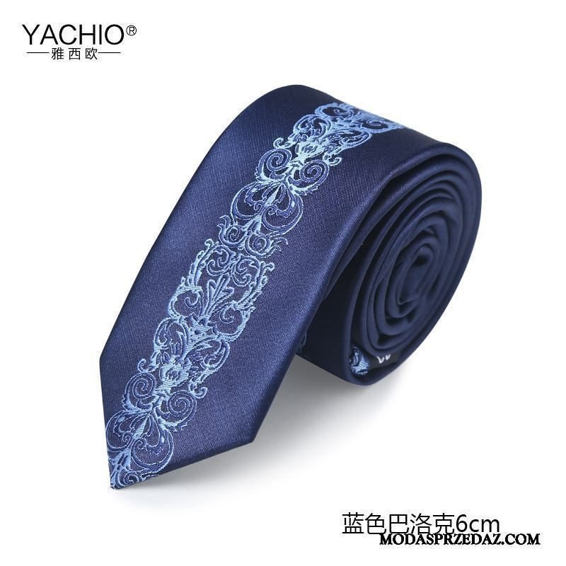 Krawat Męskie Na Sprzedaż Wzór Wąskie Oryginalny Moda Pudełko Na Prezenty Niebieski