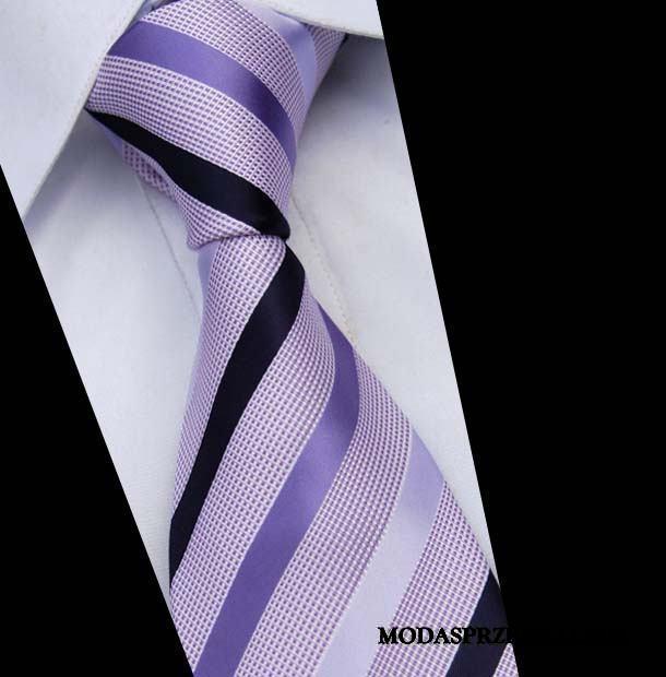 Krawat Męskie Sklep Sukienka Wysoki Koniec W Paski Jedwab Męska Beżowy Niebieski Fioletowy Jasny