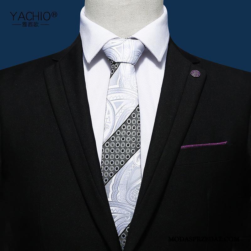 Krawat Męskie Tanie W Paski Męska Ślubna Pudełko Na Prezenty Sukienka Niebieski Biały