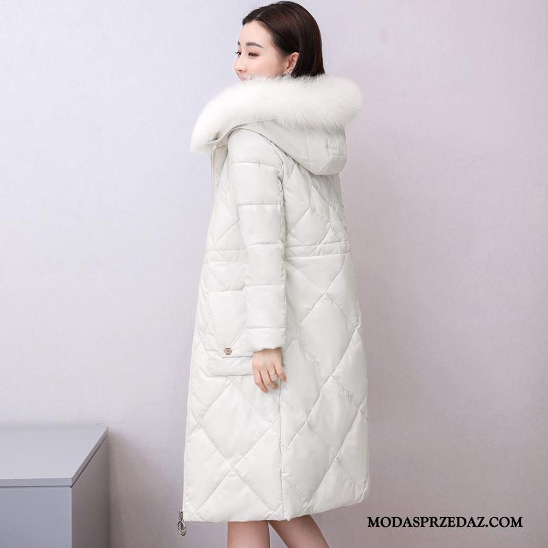 Kurtka Puchowa Damskie Kup 2019 Długie Lis Ubrania Bawełniane Odzież Zimowa Biały
