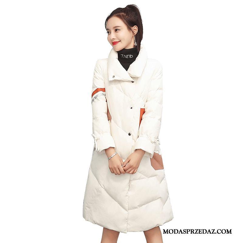 Kurtka Puchowa Damskie Tanie Eleganckie 2019 Szerokie Długi Rękaw Moda Mieszane Kolory Biały