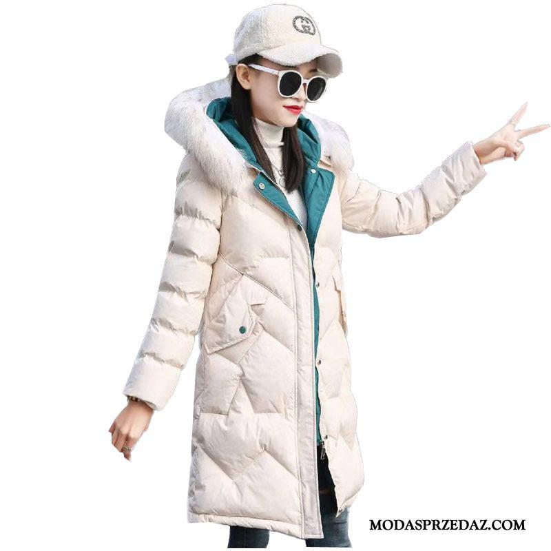 Kurtka Puchowa Damskie Tanie Zima Nowy Damska 2019 Moda Beżowy Biały