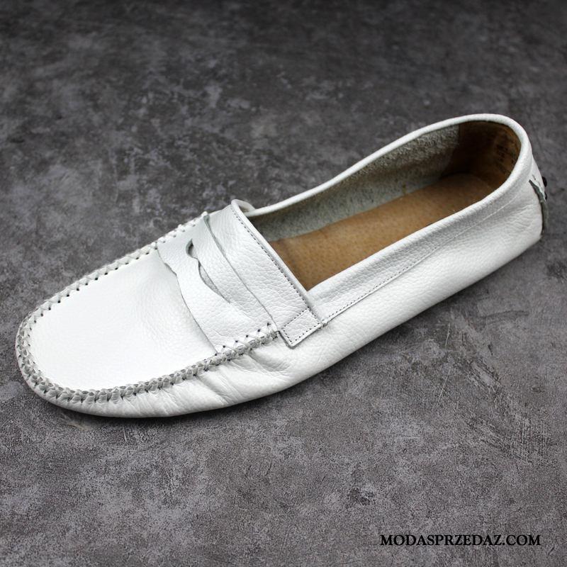 Mokasyny Męskie Online Tendencja Oddychające Brytyjski Buty Żeglarskie Męska Biały