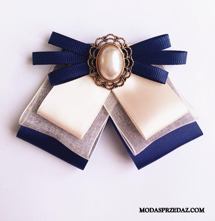 Muszka Damskie Kup Średni Każdego Dnia Kołnierz Kwiatowy Dekoracja Damska Ciemno Niebieski Niebieski