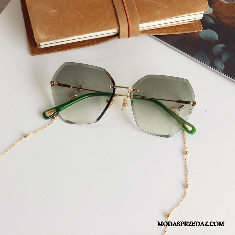 Okulary Przeciwsłoneczne Damskie Online Damska Gradient Łańcuch Osobowość Okrągła Twarz Fioletowy Szary Zielony