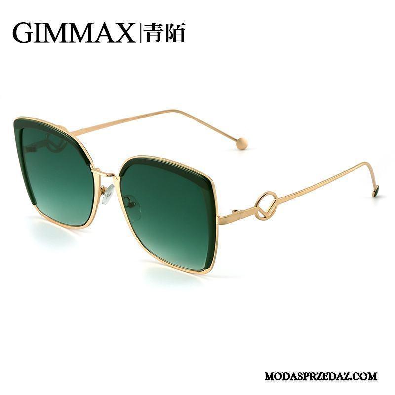 Okulary Przeciwsłoneczne Damskie Online Damska Vintage Kolor Gradientu Nowe Odzwierciedlenie Zielony