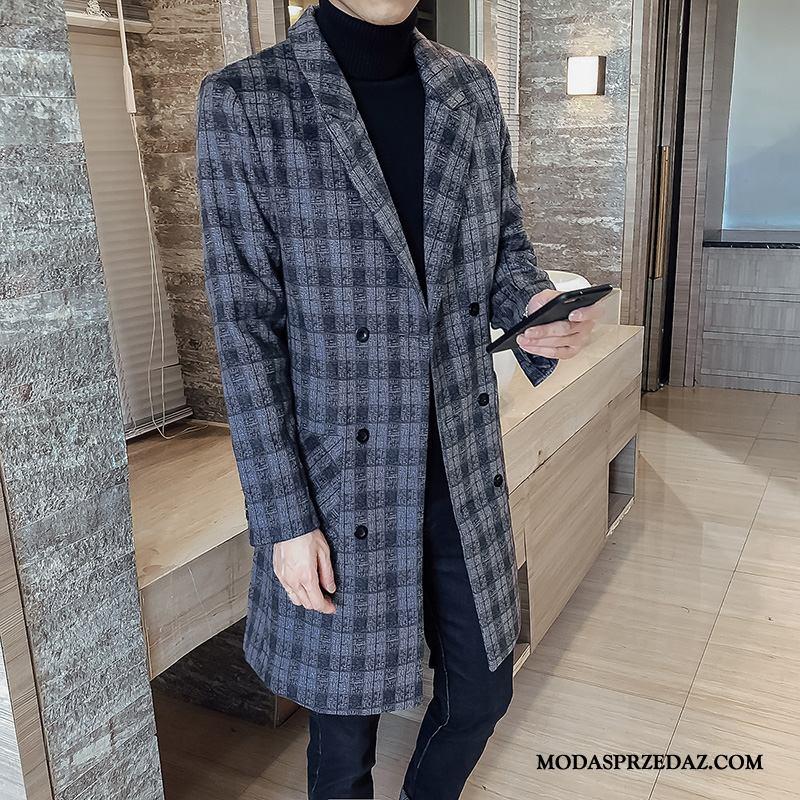 Płaszcze Męskie Sprzedam Krata Podwójna Skrzynia Męska Nowy Moda Niebieski