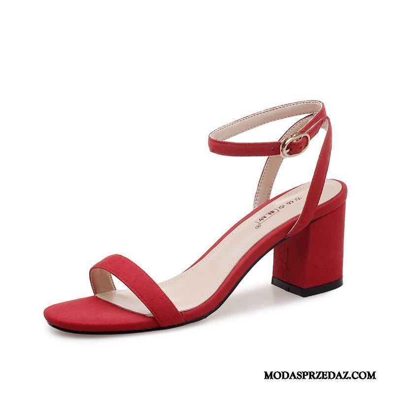 Sandały Damskie Na Sprzedaż Buty Na Obcasie 2019 Dziewczynka Gruba Podeszwa Lato Czerwony