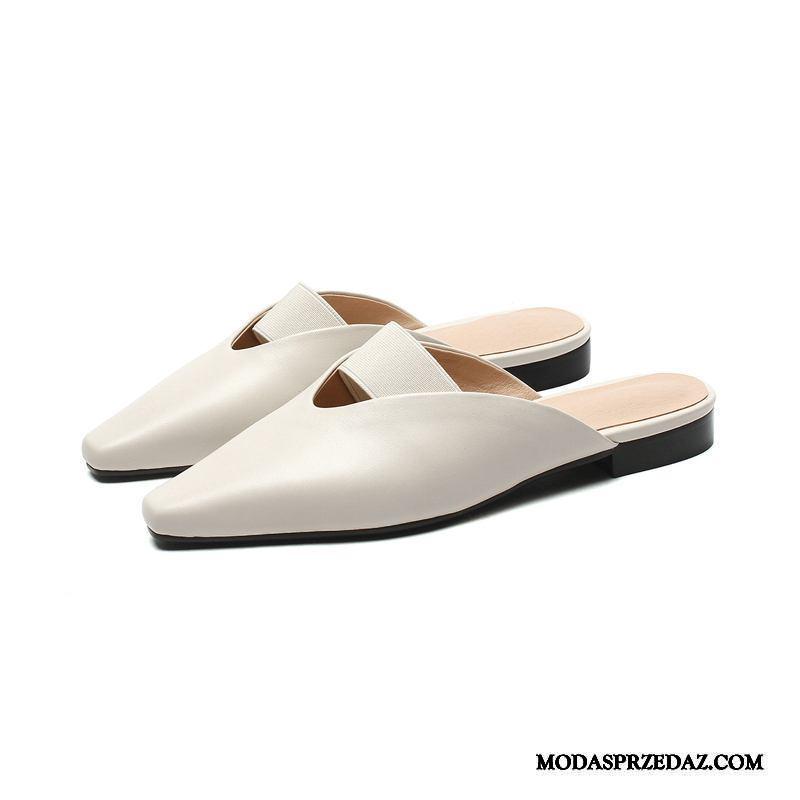 Sandały Damskie Sklep Buty Kwadratowa Głowa Pojedyncze Buty Płaskie Odzież Wierzchnia Beżowy Biały