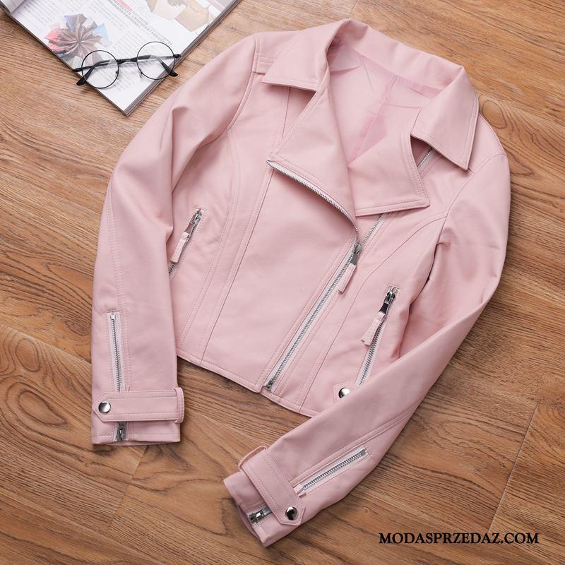 Skórzana Kurtka Damskie Sprzedam Wysoki Stan Mały Płaszcz 2019 Krótki Różowy Beżowy Biały Proszek