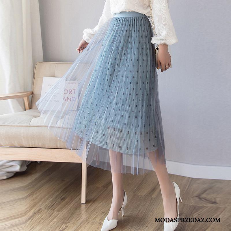 Spódnica Damskie Oferta Gazy Plisowana Sukienka Nowy Lato Niebieski