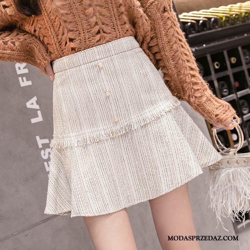 Spódnica Damskie Oferta Wiosna 2019 Moda Eleganckie Wysoki Stan Beżowy Biały