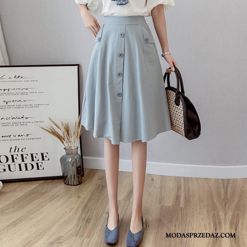 Spódnica Damskie Sprzedam 2019 Jednorzędowy Nowy Długie Proste Niebieski