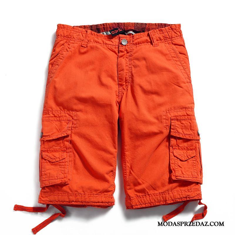 Spodenki Męskie Kup Duży Rozmiar Szerokie Męska Proste Casual Oranż Czerwony