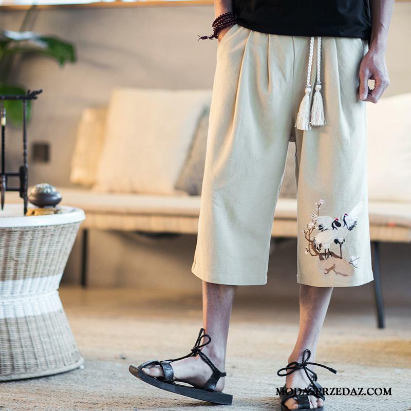 Spodenki Męskie Tanie Spodnie Capri Chiński Styl Vintage Tendencja Szerokie Khaki