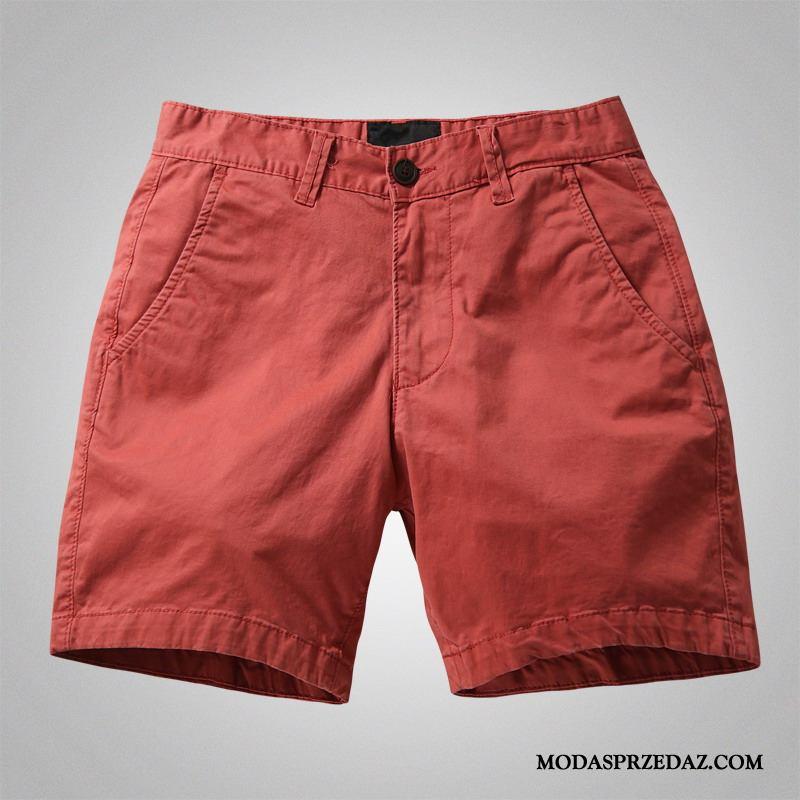 Spodenki Męskie Tanie Szorty Spodnie Cargo Tendencja Elastyczne Casual Kolor Czerwony
