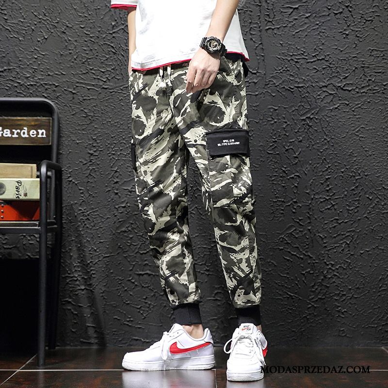 Spodnie Cargo Męskie Dyskont Slim Fit Tendencja Modna Marka Student Casualowe Spodnie Kamuflaż Jasny