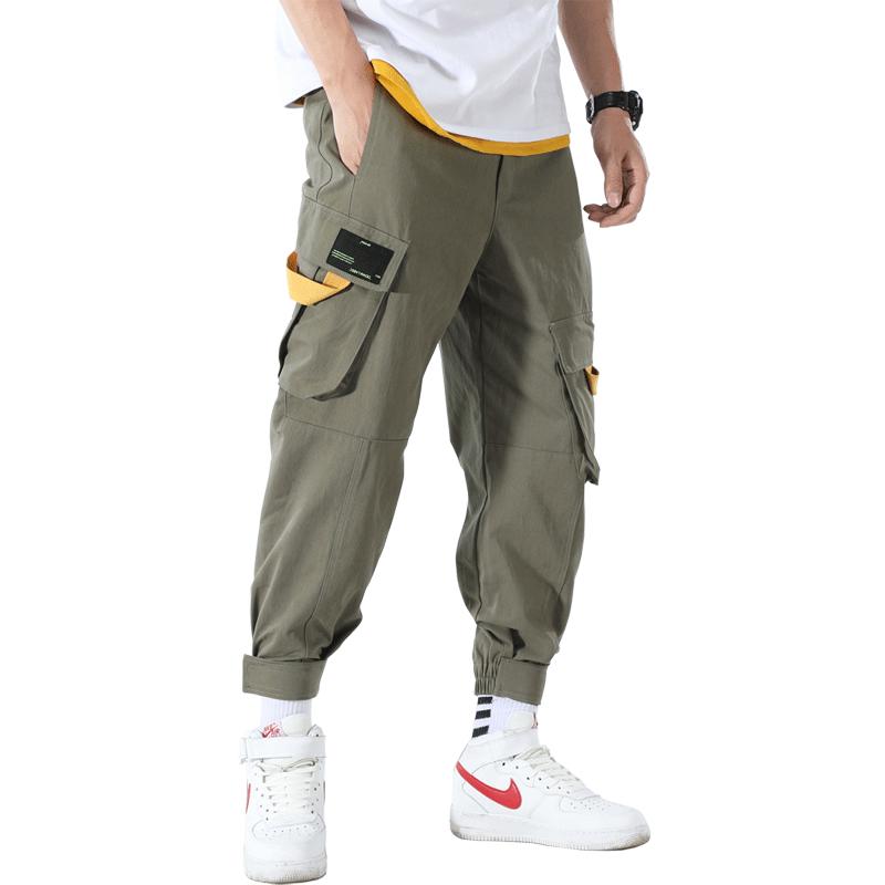 Spodnie Cargo Męskie Dyskont Szerokie Moda Harlan Casual Mały Zielony