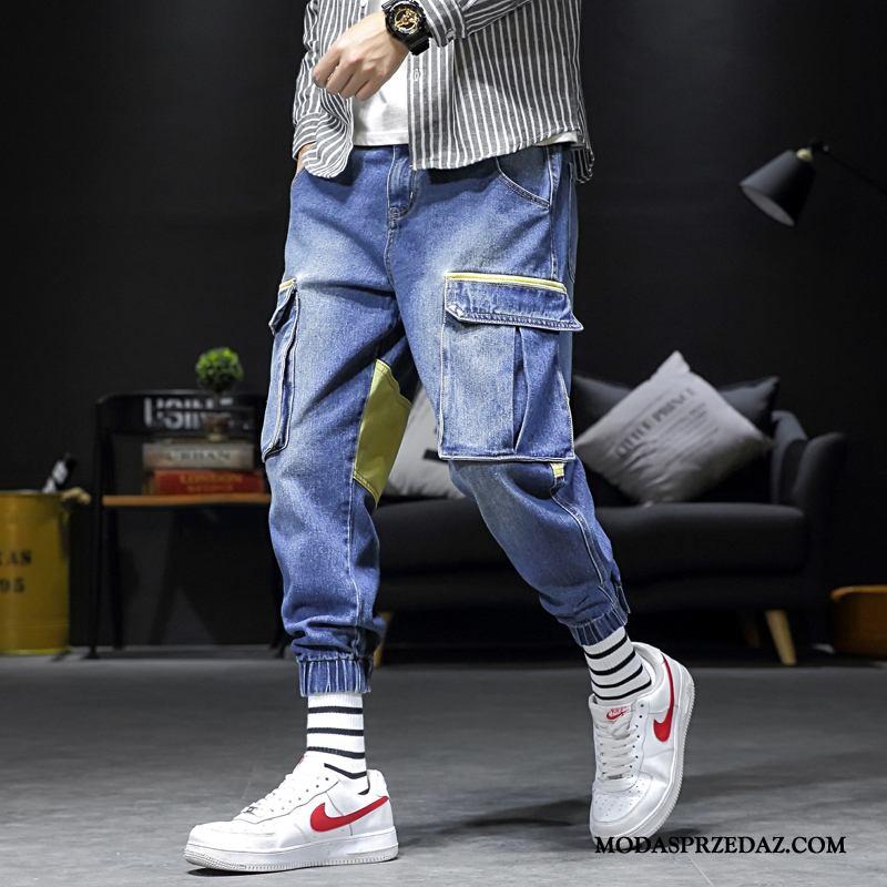 Spodnie Cargo Męskie Na Sprzedaż Vintage Męska Tendencja Szerokie Slim Fit Niebieski Jasny
