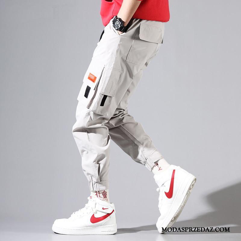 Spodnie Cargo Męskie Oferta Męska Casualowe Spodnie Szerokie Slim Fit Modna Marka Beżowy Biały