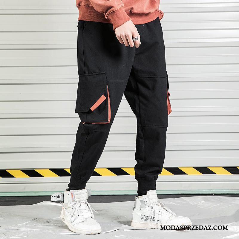Spodnie Cargo Męskie Online Casualowe Spodnie Kieszenie Dekoracja Tendencja Szerokie Czarny