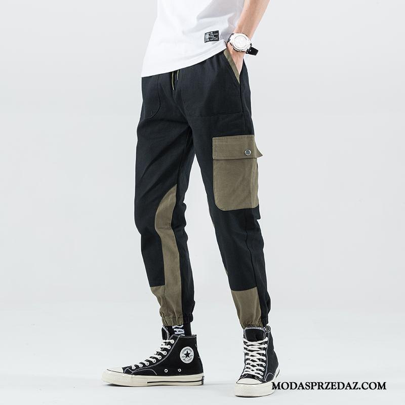 Spodnie Cargo Męskie Online Szerokie Proste Slim Fit Modna Marka Sportowe Czarny