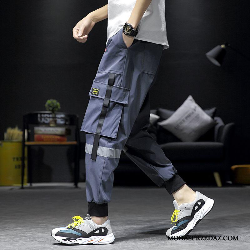 Spodnie Cargo Męskie Sklep Casual Szerokie Modna Marka Tendencja Lato Szary Ciemno