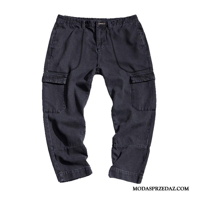 Spodnie Cargo Męskie Sklep Męska Modna Marka Dżinsy Slim Fit Tendencja Czarny