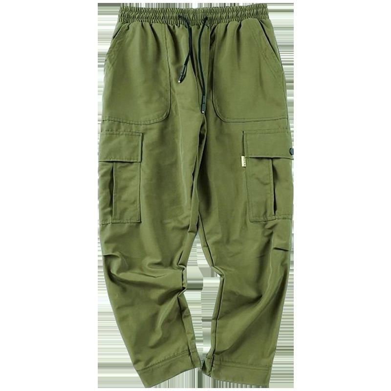 Spodnie Cargo Męskie Sprzedam Szerokie Harlan Slim Fit Tendencja Casual Zielony