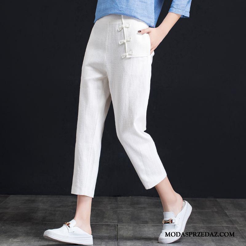 Spodnie Damskie Kup Szerokie Wiosna Lato Harlan Cienkie Biały