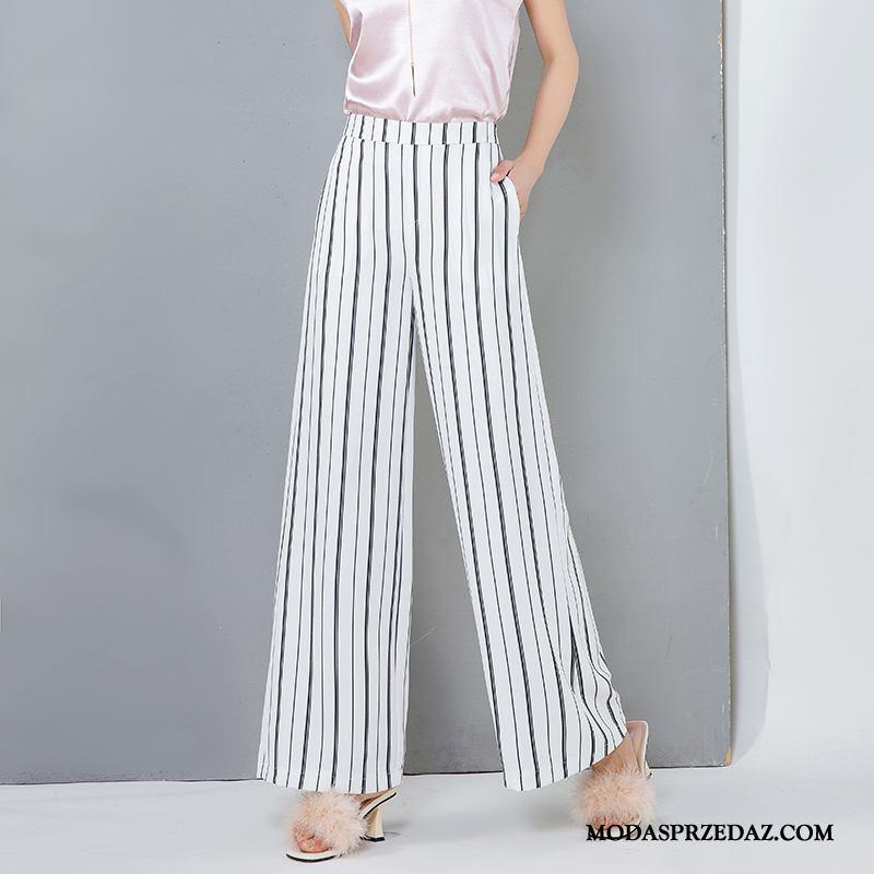 Spodnie Damskie Kup Szyfon Wysoki Stan Długie Damska Duży Rozmiar Biały