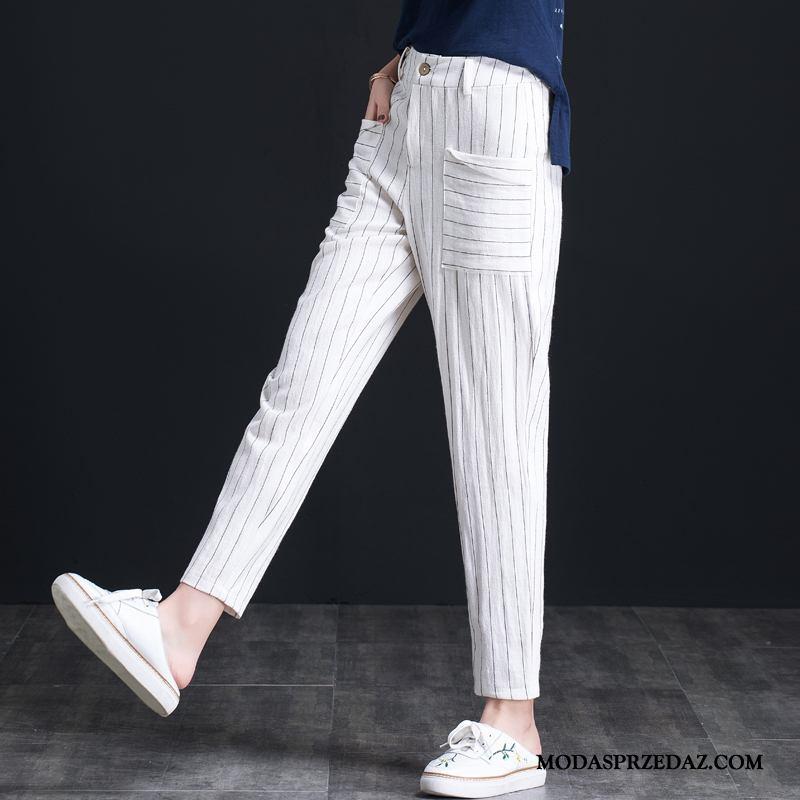 Spodnie Damskie Na Sprzedaż Mały Bawełna I Len Tendencja Harlan Damska Biały