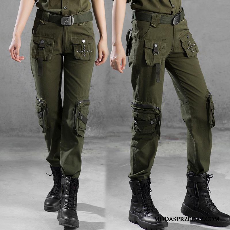 Spodnie Damskie Na Sprzedaż Spodnie Cargo Wysoki Stan Więcej Kieszeni Cienkie Proste Kamuflaż Zielony