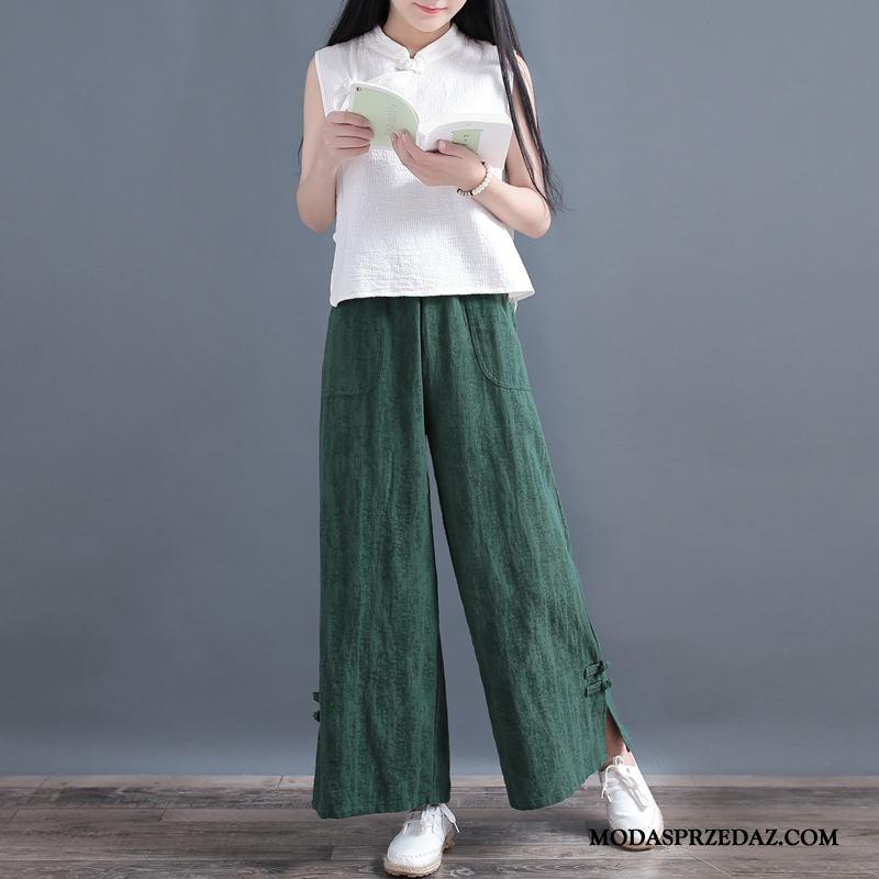 Spodnie Damskie Online Bawełna I Len Jesień Art Elastyczne Vintage Zielony