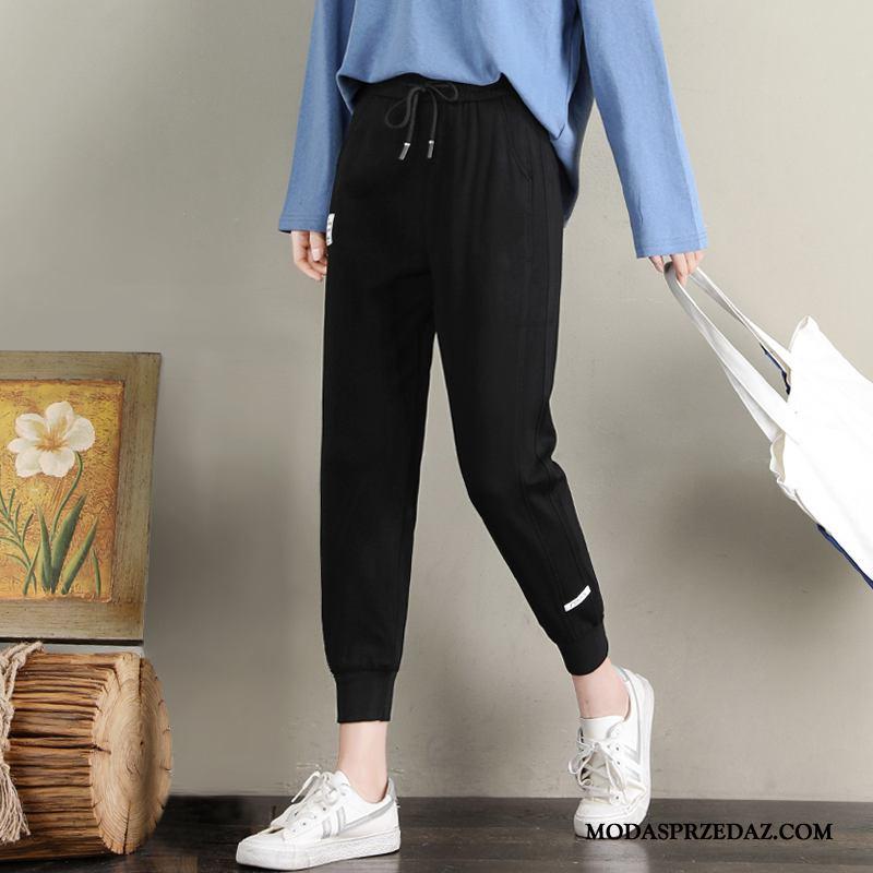 Spodnie Damskie Online Damska Casualowe Spodnie Elastyczne Cienkie Student Czarny