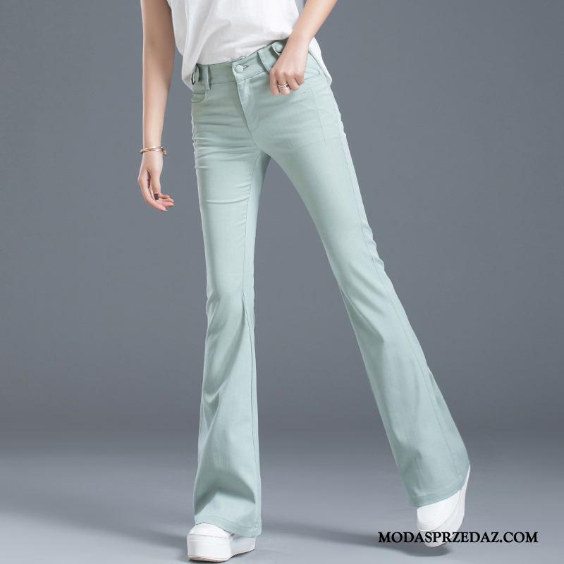 Spodnie Damskie Online Super Jedwab Casualowe Spodnie Flare Lato Cyjan