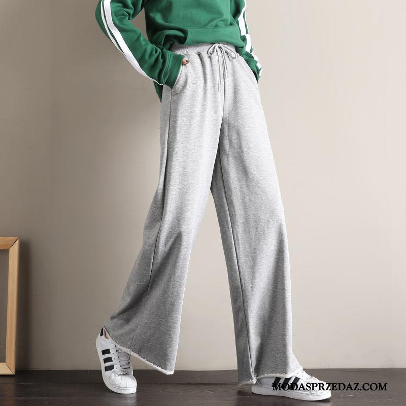 Spodnie Damskie Sklep 2019 Szerokie Student Spodnie Dresowe Proste Szary