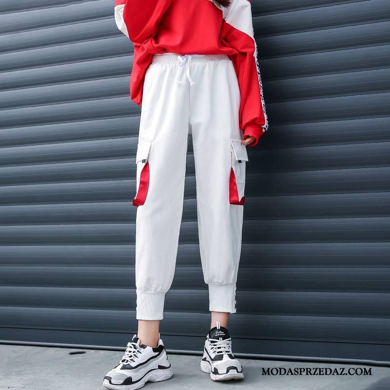Spodnie Damskie Tanie Spodnie Cargo Szerokie Casual Damska Cienkie Biały Czarny Czerwony