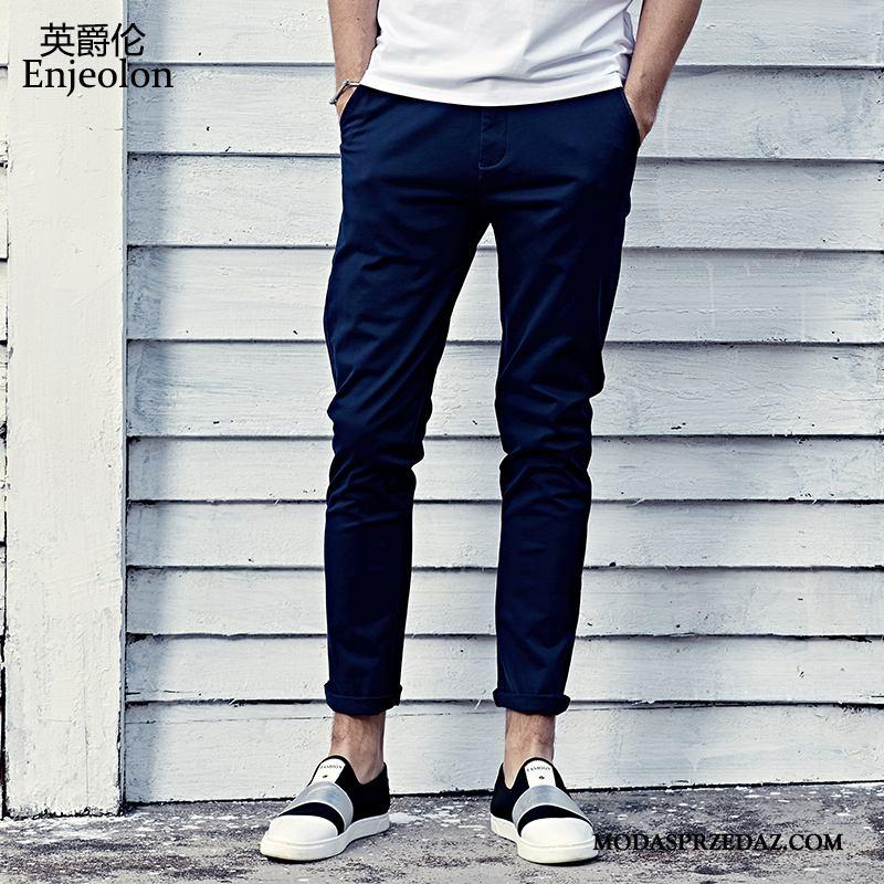 Spodnie Męskie Kup Slim Fit Proste Ołówkowe Spodnie 2019 Casualowe Spodnie Ciemno Niebieski