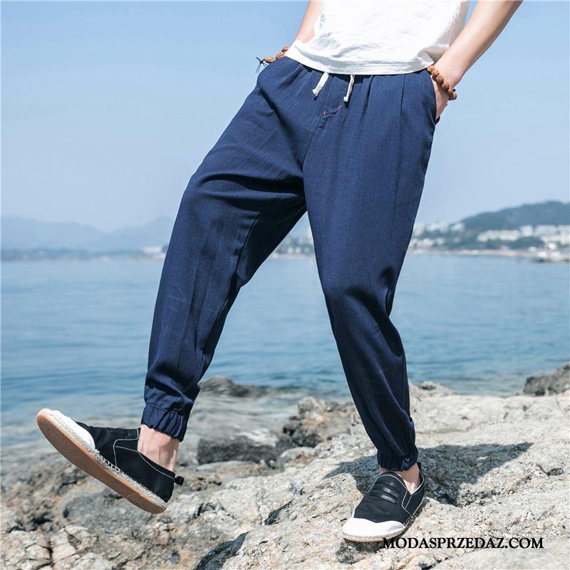 Spodnie Męskie Kupię Szerokie Slim Fit Tendencja Casual Męska Ciemno Niebieski