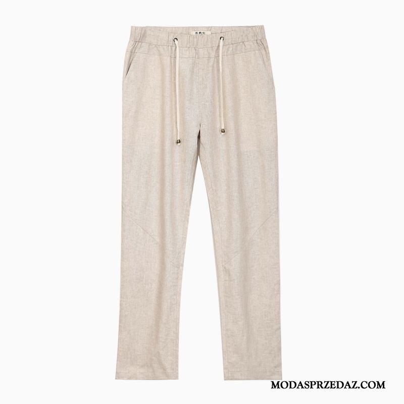 Spodnie Męskie Kupię Szerokie Sznurowane Lato Casualowe Spodnie Oddychające Beżowy Żółty