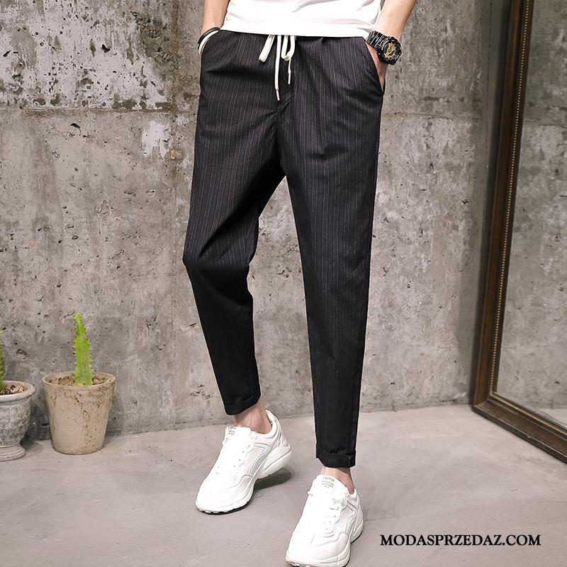 Spodnie Męskie Na Sprzedaż Slim Fit Tendencja Harlan Mały W Paski Czarny