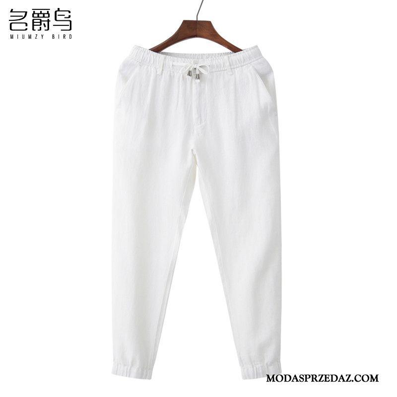 Spodnie Męskie Sklep Casualowe Spodnie Szerokie Oddychające Męska Cienkie Czysta Biały