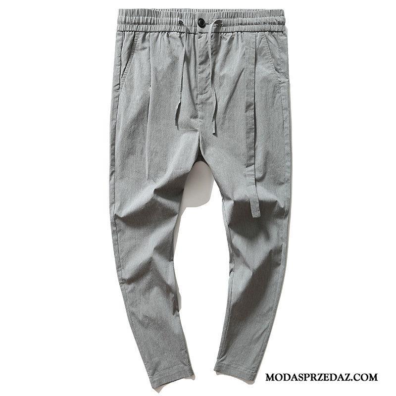 Spodnie Męskie Sklep Ołówkowe Spodnie Casualowe Spodnie Męska Elastyczne Szerokie Szary Jasny