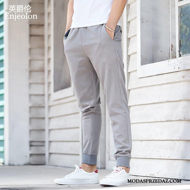 Spodnie Męskie Sklep Spodnie Dresowe Męska Cienkie Slim Fit Casualowe Spodnie Szary Jasny