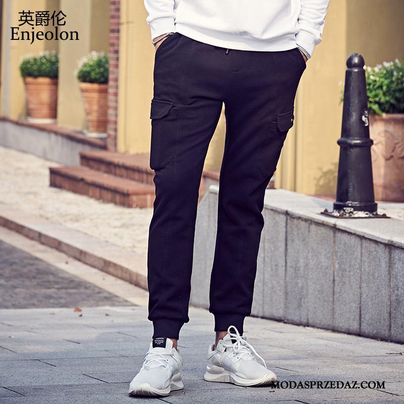 Spodnie Męskie Sklep Szerokie Tendencja Casual Młodzież Męska Czarny