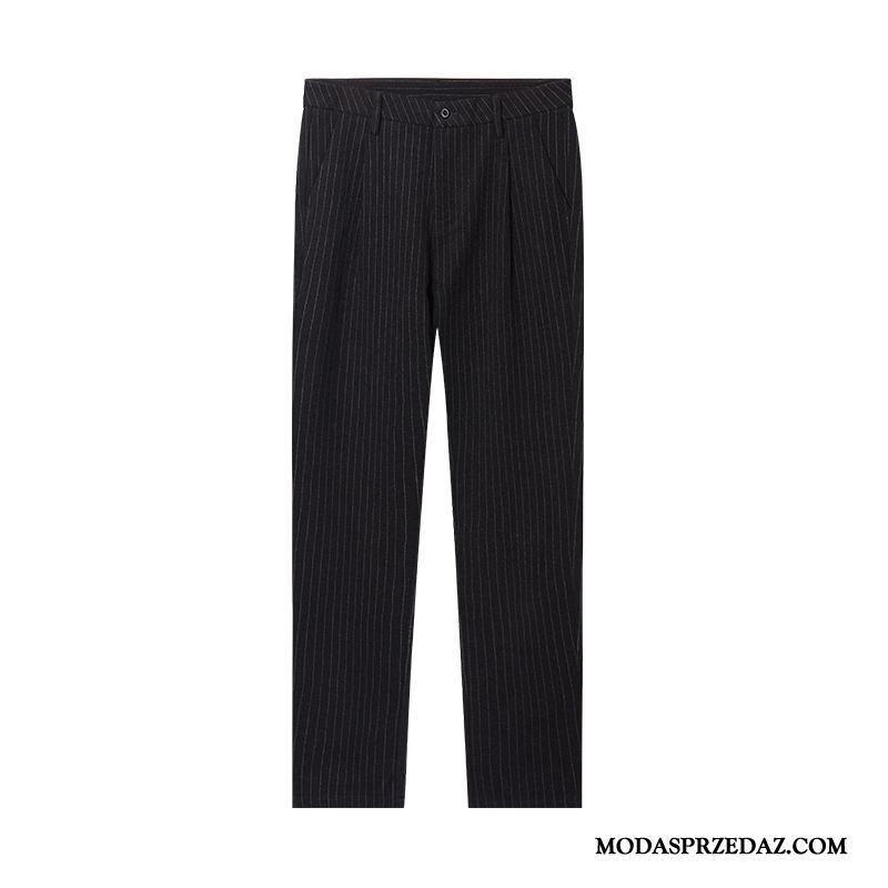 Spodnie Męskie Tanie Długie Proste Moda Casualowe Spodnie Jesień Czarny