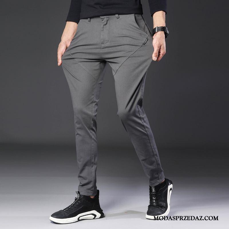 Spodnie Męskie Tanie Slim Fit Tendencja Casualowe Spodnie Długie Męska Szary